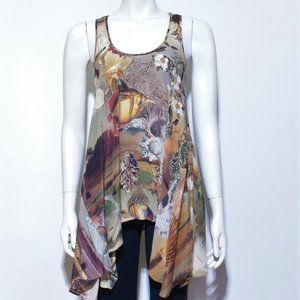 All Saints 100% Silk Asymmetrical Tunic Tank Top